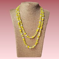 Yellow Faceted Flattened Square Bead Flapper Length Necklace