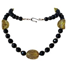 Faceted Black Crystals Lg Faux Amber Glass Beaded Necklace