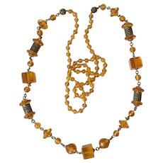Amber Czechoslovakia Glass Bead Flapper Necklace