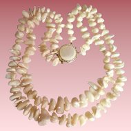 Cream MOP 2 Strand Nugget Necklace