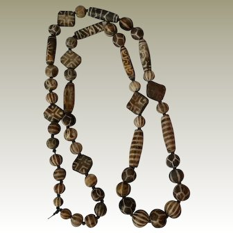 Fabulous Brown Trade Bead Necklace Matched Sides