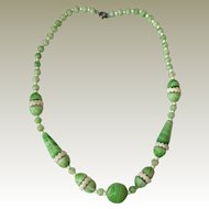 Green and White Czechoslovakia Necklace