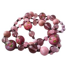 Pink Glass and Paperweight Murano Bead Necklace