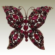 Fuchsia Amethyst Rhinestone Butterfly Pin Vintage Darkened Goldtone Finish