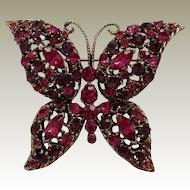 Fuchsia Amethyst Rhinestone Butterfly Pin Vintage Darkened Goldtone Finish