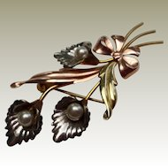 Van Dell Calla Lily 1/20th 12K GF Tri-Color Gold Filled Cultured Pearl Pin Brooch