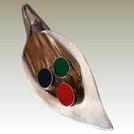 Sterling Southwest Style Stylized Lily Pin Primary Color Inlay 925 Possibly Gemstone