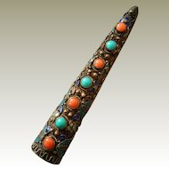 Chinese Finger Fingernail Guard Filigree Pin Cloisonne Enamel Coral Turquoise Golden Wash on Silver