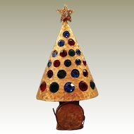 Hattie Carnegie Light Up Christmas Tree Pin 1960s