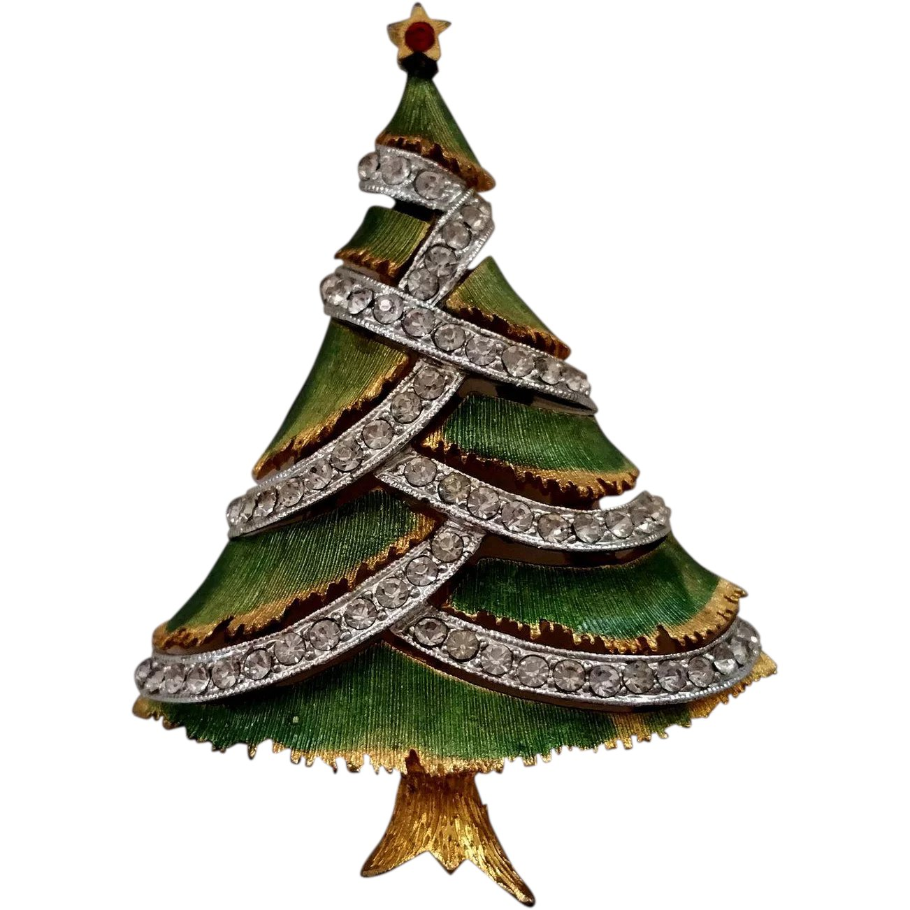JJ Jonette Jewelry Christmas Tree Pin Green Resin Wash Mixed Metal ...