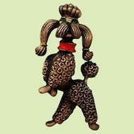 JJ Poodle Pin Standing Prancing Dancing on Hind Legs Jonette Jewelry
