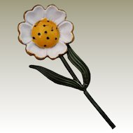 Original by Robert Flower Power Pin White Daisy Polka Dot Yellow Center Brooch