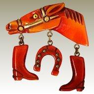 Best Bakelite Horse Head Equestrian Pin Resin Washed Metal Stud Trimmed Dangles