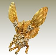 Vintage Unsigned Trembler Fly Pin Tremblant Wings Gold Tone Clear RSs Often Seen Signed Carnegie