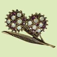 Vintage Brooch with Opalescent Rhinestones and Amethyst Glass Stones