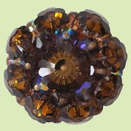 Dark Amber Brown Margarita Beaded Pin