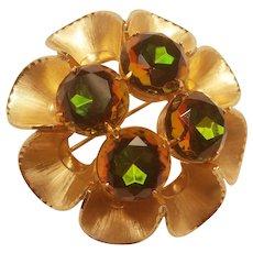 Amber Green Vitrail Rhinestone Pin