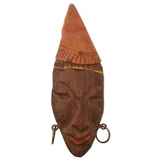 Wood and Leather Ethnic African Face Pin