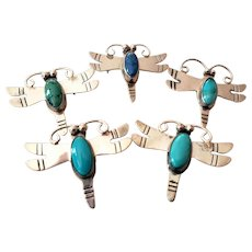 Swarm of 5 Sterling Turquoise Dragonfly Pins