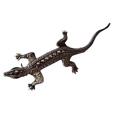 835 Germany Silver and Marcasites Lizard Pin