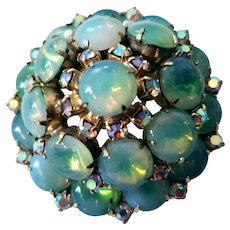 High Domed Green Opalescent Rhinestone Cab Pin