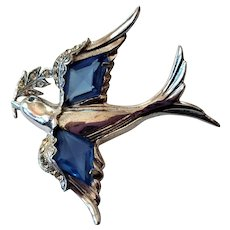 Sterling Dove of Peace Pin with Hard Metal Non-Tarnish Finish
