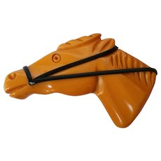 Butterscotch Bakelite Horse Head Pin