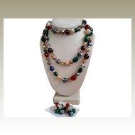 Hattie Carnegie Flapper Bead Millifiori Jewelry Set