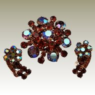 Juliana DeLizza and Elster Pin ER Set D&E Deep Amber and Blue AB Rhinestones