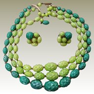 Vintage 3 Strand Necklace ER Set West Germany Faceted Green Graduated Football Beads Iridescent Finish