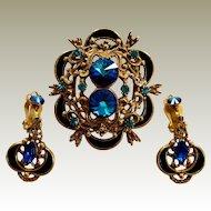 Blue Rivoli Pin Clip On Dangle Earrings Set Cold Enamel Crescent Accents