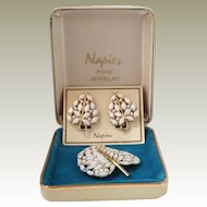 Napier Snow White Leaf Pin and Earrings Set in Orig Napier Box