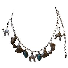 Egyptian Revival Charm Necklace and E Rs Silverplated Charms Sterling Chain Ear Wires