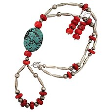 Jacla Spiderweb Turquoise Coral Sterling Necklace and Earrings