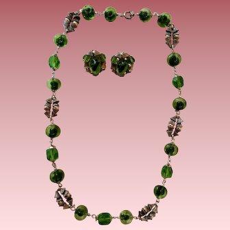 Green Bullseye Glass Bead Necklace ER Set