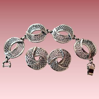 Sarah Coventry Crescent Silver Tone Bracelet Clip On ER Set