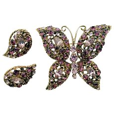 Pink and Amethyst Rhinestone Butterfly Pin with Matching Clip Earrings