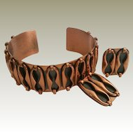 Renoir Espana Cuff Bracelet and Clip Earrings