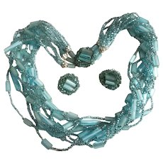 Turquoise Glass Bead Necklace ER Set