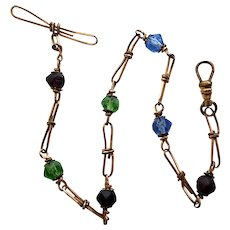 GF Wire Wrapped Watch Chain With Czech Faceted Beads