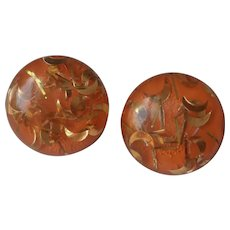 Tangerine Orange with Gold Glitter Lucite Button Earrings