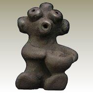 Santa Clara Black Pottery  Koshare or Mudhead Holding Bowl by Paul and Dorothy Gutierrez