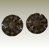 Pair 1 5/8 Inch Bakelite Buttons Embedded Loop Shank Marbled Dark Brown Some Matte Carvings