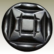 Deep Carved Black Bakelite Coat Button Deco Era Thick with Metal Loop Shank