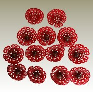11 Vintage 2 Piece Raspberry Plastic Filigree Flower Sewing Buttons PLUS 2 Extras Missing Their Centers