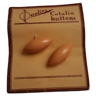 Vintage Catalin Bakelite Football Style Buttons on Original Card