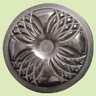 Black Bakelite Button Quatrefoil Machined Look Carved Large Heavy Thick Coat or Cloak Button