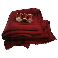 Burgundy Fabric Rayon Faille Vintage 1950s Fabric Thread
