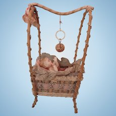 Exceptional Wicker Bassinet w/Baby and Rattle,  May Be Candy Container