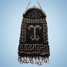 HALF PRICE:  Lovely Black Doll Purse w/Steel Cut Beads Design